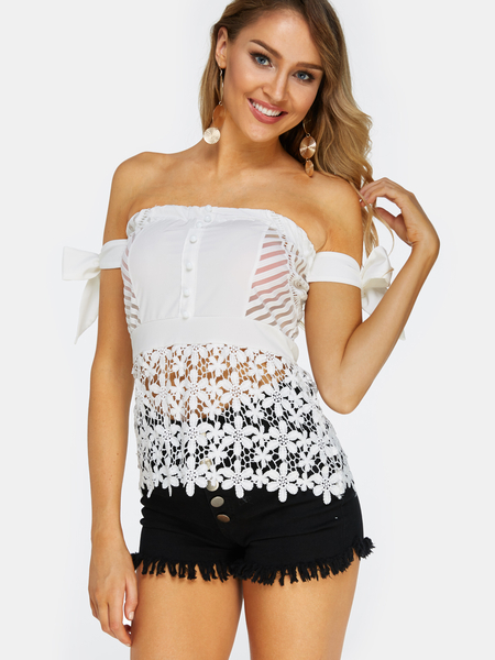 Yoins White Lace Off The Shoulder Sleeveless Blouses
