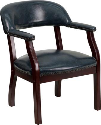 B-Z105-NAVY-GG Captain's Conference Chair with Accent Nail Trim  Open Back Design  Brass Hooded Ball Casters  Solid Mahogany Hardwood Frame and