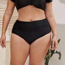 Grosse Grossen - Bikini Hoschen mit Ruesche Detail und hoher Taille