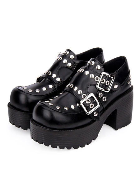 Milanoo Punk Lolita Footwear Rivet Buckle Chunky Heel Platform Black Lolita Shoes