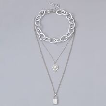 Guys Metal Multilayer Chain Lock Pendant Necklace