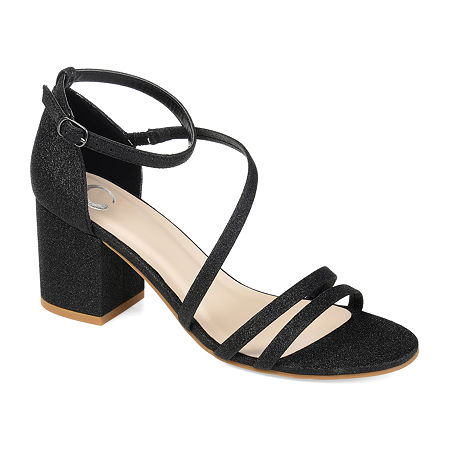 Journee Collection Womens Bella Buckle Open Toe Block Heel Pumps, 10 Medium, Black
