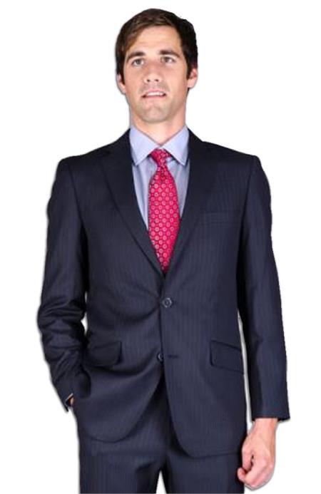 Mens Slim Fit Navy Stripe 2Button Suit