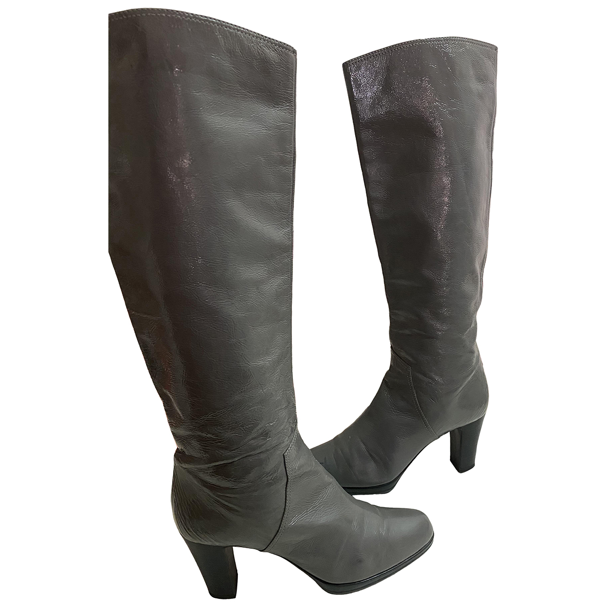 Sergio Rossi N Grey Patent leather Boots for Women 38.5 EU