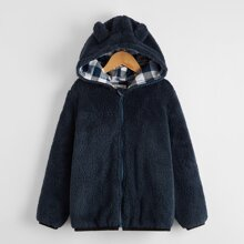 Boys Gingham Panel Lining Teddy Hooded Jacket With Ear