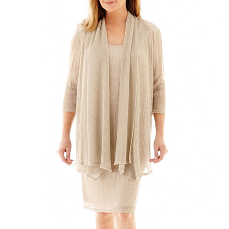 R&M Richards 3/4 Sleeve Crinkle Jacket Dress, 14 , Beige