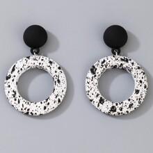 Round Charm Drop Earrings