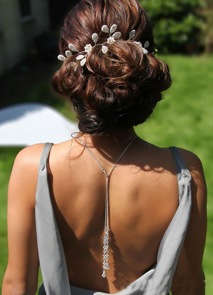 Milanoo Wedding Backdrop Necklace White Pendant Bridal Jewelry For Women