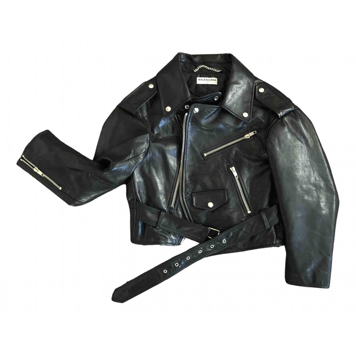 Balenciaga \N Black Leather jacket for Women 38 FR