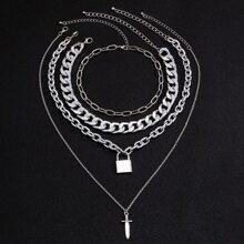 4pcs Men Lock Charm Necklace