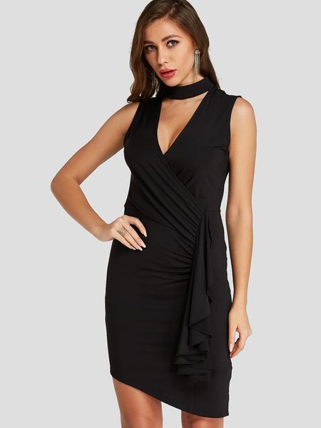 YOINS Black Cut Out design Crossed Collar Sleeveless Dress