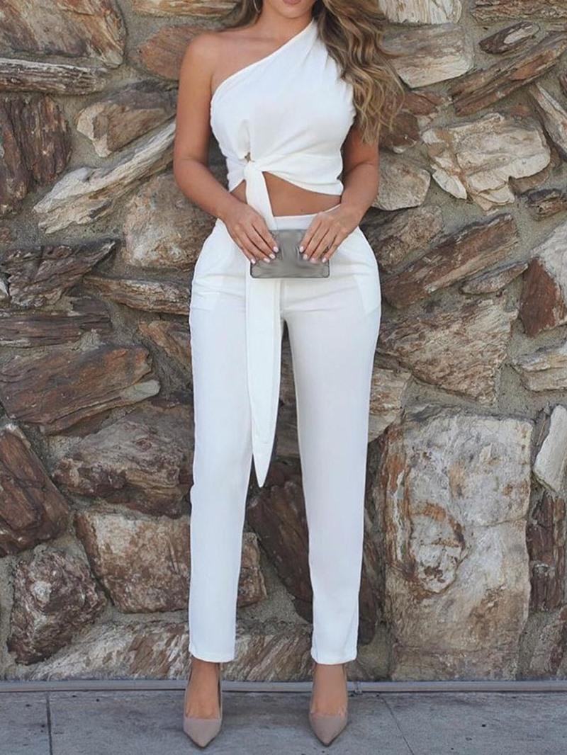 Ericdress Asymmetric Plain Dressy Sexy Vest And Pants Two Piece Sets