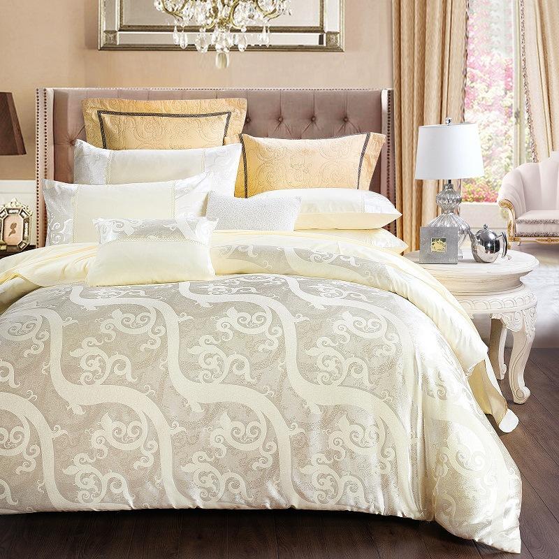 Luxury White Silky Soft Cotton 4-Piece Bedding Sets Skin-friendly Satin Jacquard Duvet Cover