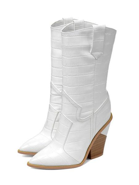 Milanoo Women Mid Calf Boots Light Sky Blue Pointed Toe Snakeskin Print Boots