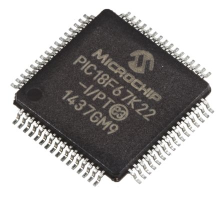 Microchip PIC18F67K22-I/PT, 8bit PIC Microcontroller, PIC18F, 64MHz, 1 kB, 128 kB Flash, 64-Pin TQFP