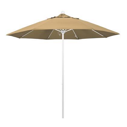 ALTO908170-F67 9' Venture Series Commercial Patio Umbrella With Matted White Aluminum Pole Fiberglass Ribs Push Lift With Olefin Champagne