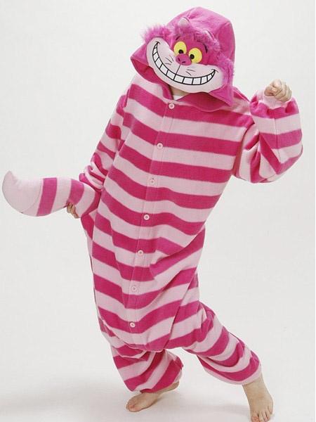 Milanoo Kigurumi Pajamas Cheshire Cat Onesie For Adult 2020 Alice In Wonderland Cat Fleece Flannel Costume Halloween
