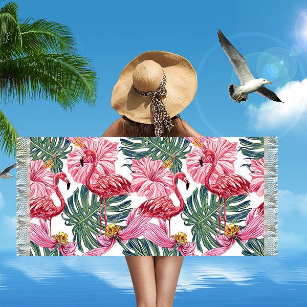 Flamingo Pattern Microfiber Rectangular Fringed Beach Towel Absorbent Bath Beach Towel