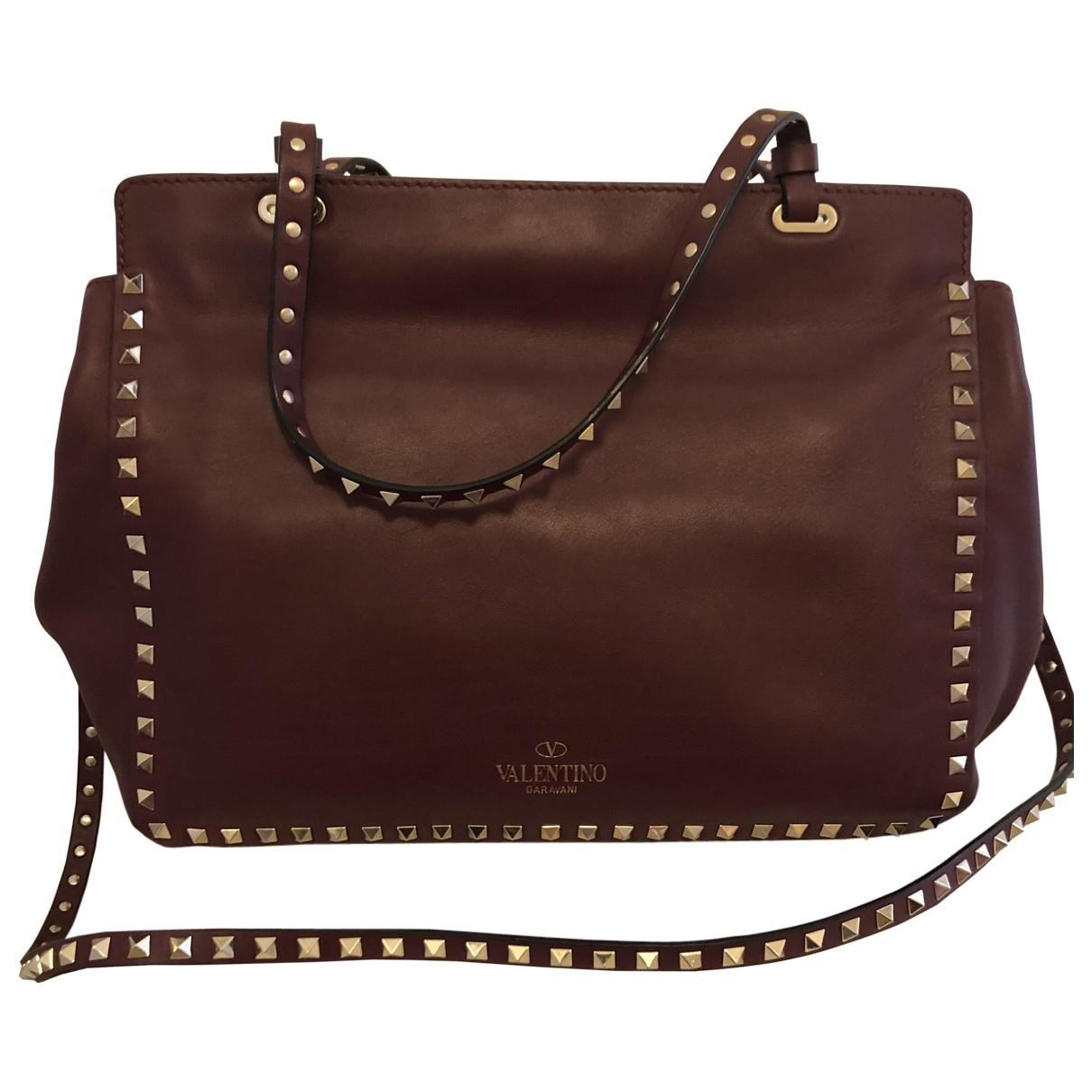 Valentino Garavani Rockstud Burgundy Leather handbag for Women \N