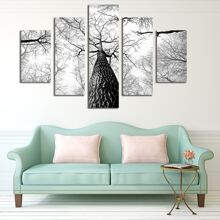 5 Stuecke Wandmalerei mit Baum Muster ohne Rahmen