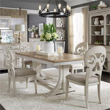 Farmhouse Reimagined Collection 652-DR-5TRS 5PC Trestle Table Set with 4x Splat Back Side Chair and 1 Trestle Table in Antique White Finish with
