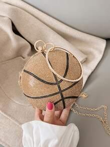 Rhinestone Basketball Ring Satchel Bag
