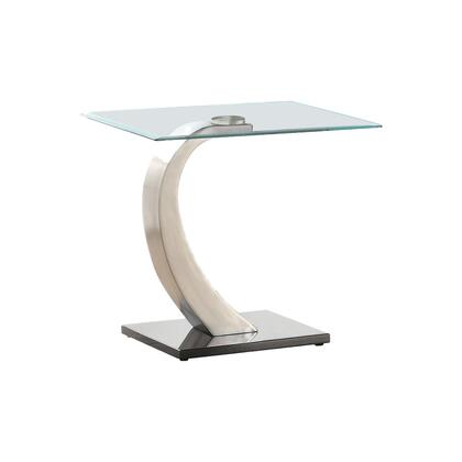 BM219589 Floating Tempered Glass Top End Table with Metal Support  Clear and