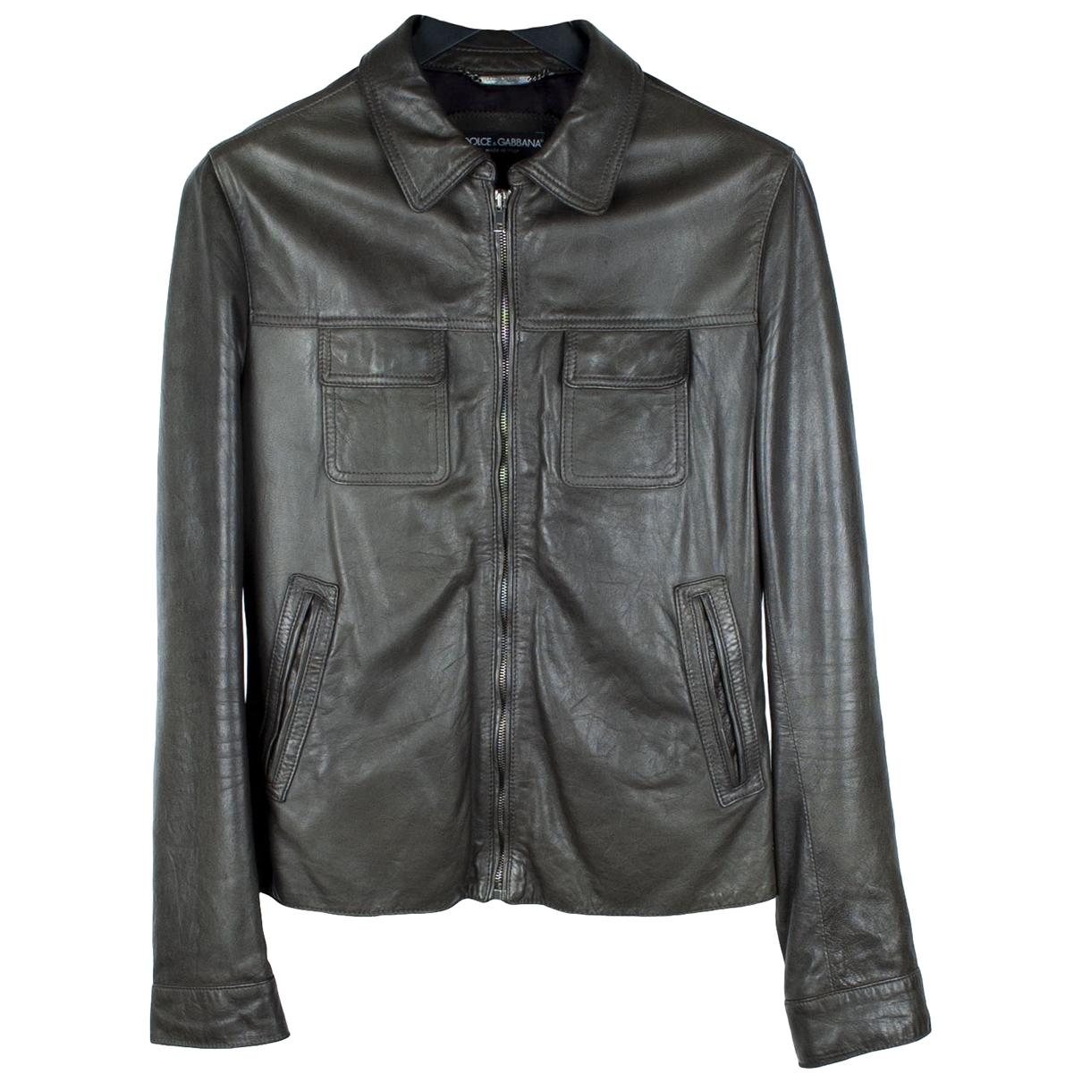 Dolce & Gabbana \N Khaki Leather jacket  for Men M International