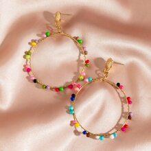 1pair Bead Charm Hoop Drop Earrings