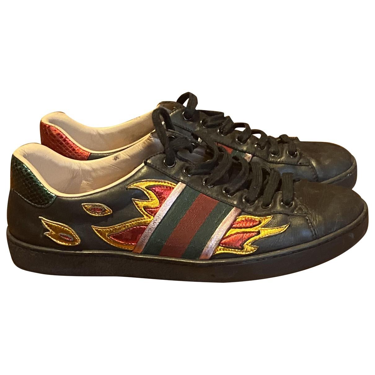 Gucci - Baskets Ace pour homme en cuir - noir