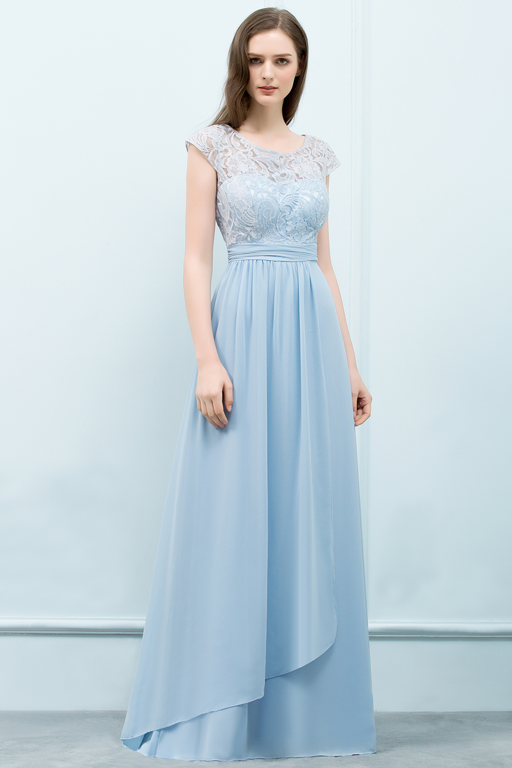 BMbridal Affordable Lace Sleeveless Blue Bridesmaid Dresses With Scoop Cap