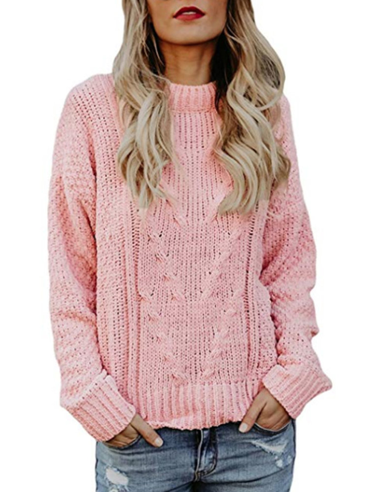 Casual Round Neck Solid Color Sweater for Women