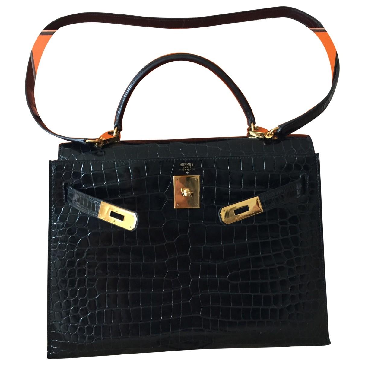 Hermes Kelly 32 Handtasche in  Schwarz Exotenleder
