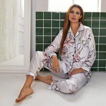 Satin Schlafanzug Set mit Blumen Muster und Kontrast Bindung