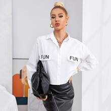 Letter Graphic Oversized Blouse