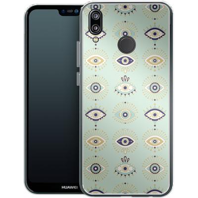 Huawei P20 Lite Silikon Handyhuelle - Evil Eyes Mint von Cat Coquillette