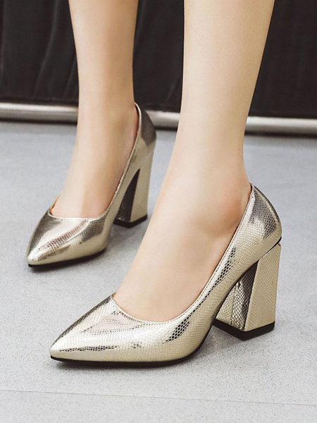 Milanoo Zapatos de fiesta sin cordones de tacon alto para mujer con punta puntiaguda Zapatos de fiesta sin cordones con tacon grueso