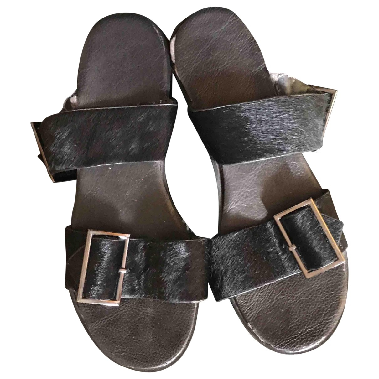 Asos \N Black Pony-style calfskin Sandals for Women 38 EU