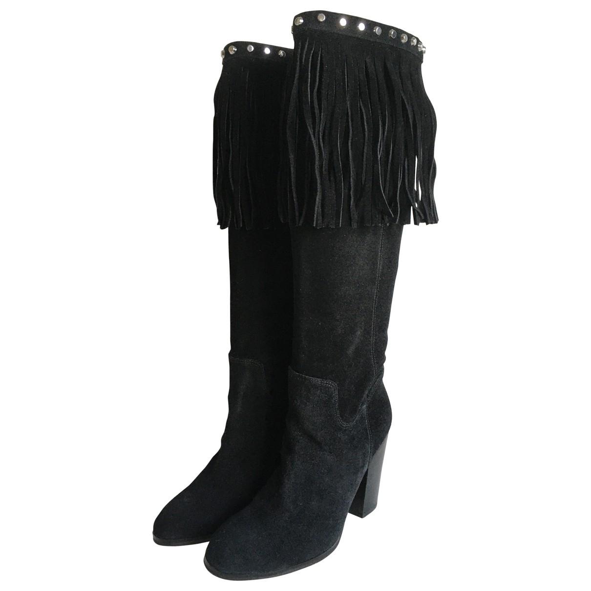 Michael Kors - Bottes   pour femme en suede - noir