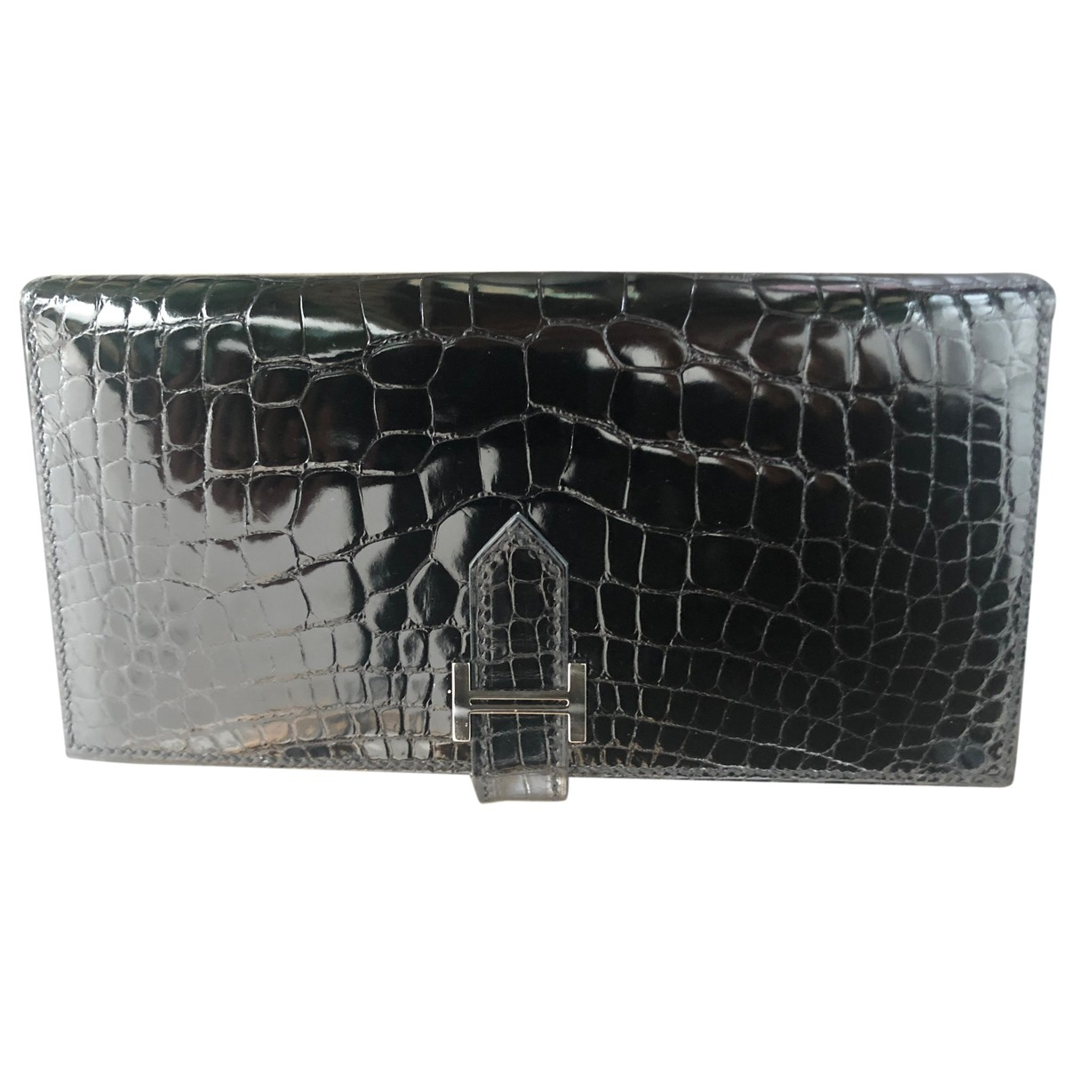 Hermes Bearn Portemonnaie in  Schwarz Aligator