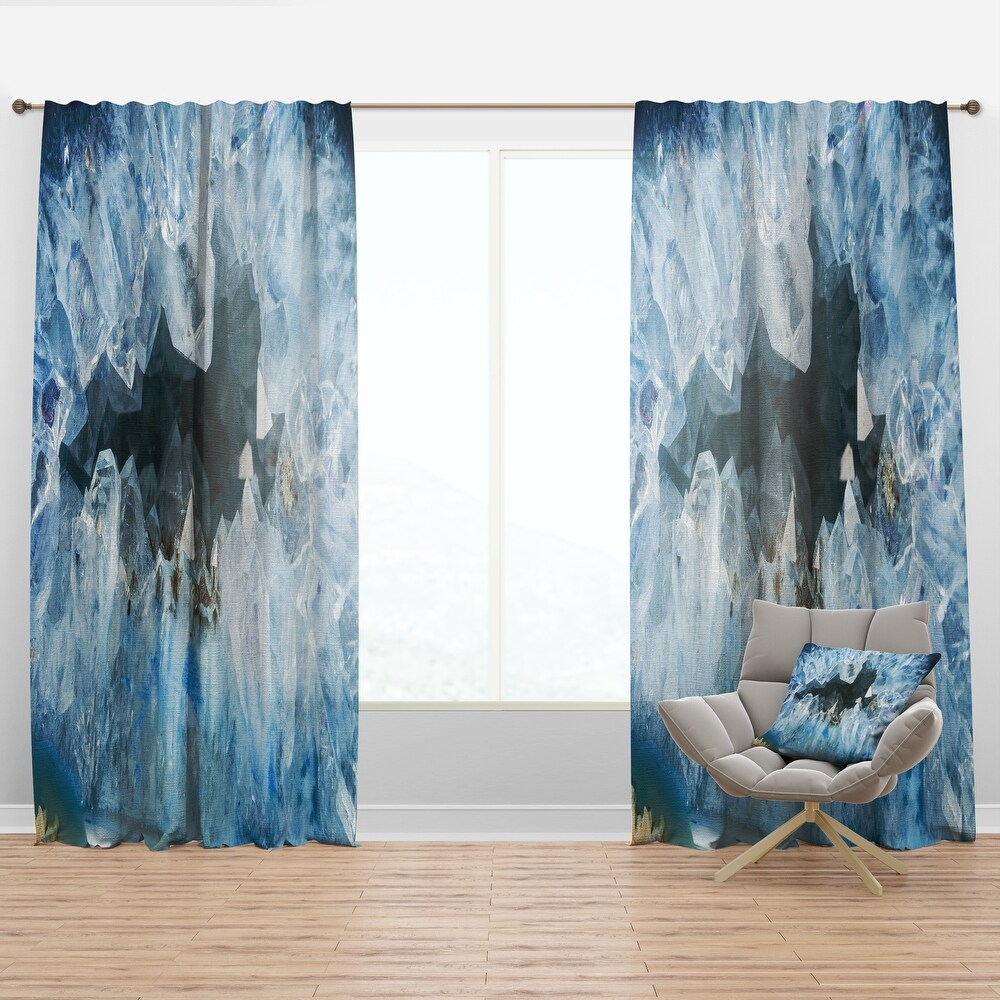 Designart 'Geode Interior with Light Blue crystals' Mid-Century Modern Curtain Panel (50 in. wide x 95 in. high - 1 Panel)