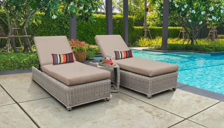 Coast Collection COAST-W-2x-ST-WHEAT Patio Set with 2 Chaise with Wheels  1 Side Table - Beige and Wheat
