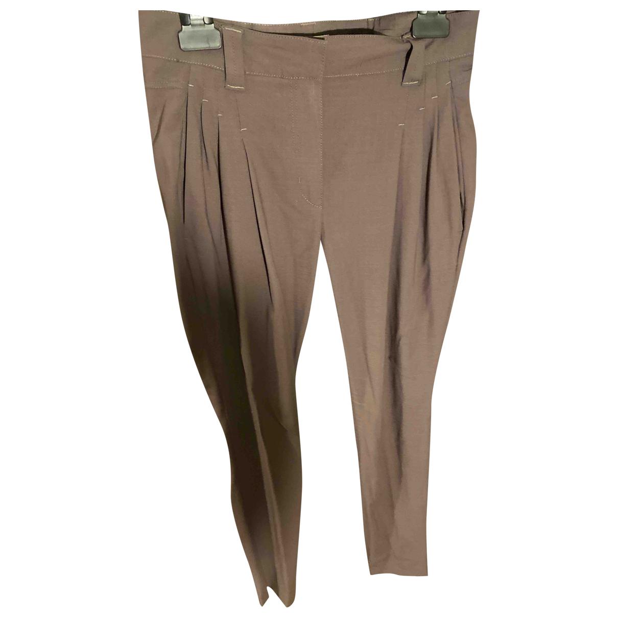 Brunello Cucinelli \N Khaki Wool Trousers for Women 38 FR