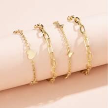 4pcs Butterfly Decor Bracelet