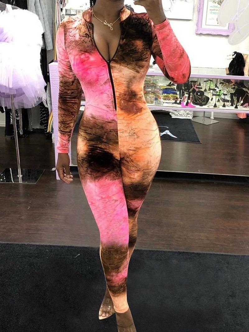 Ericdress Casual Full Length Color Block Slim Mid Waist Jumpsuit