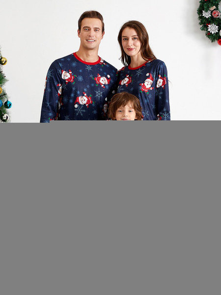 Milanoo Men\'s Women's Christmas Set Navy Cotton Blend Cotton Christmas Pattern Christmas Holidays Costumes