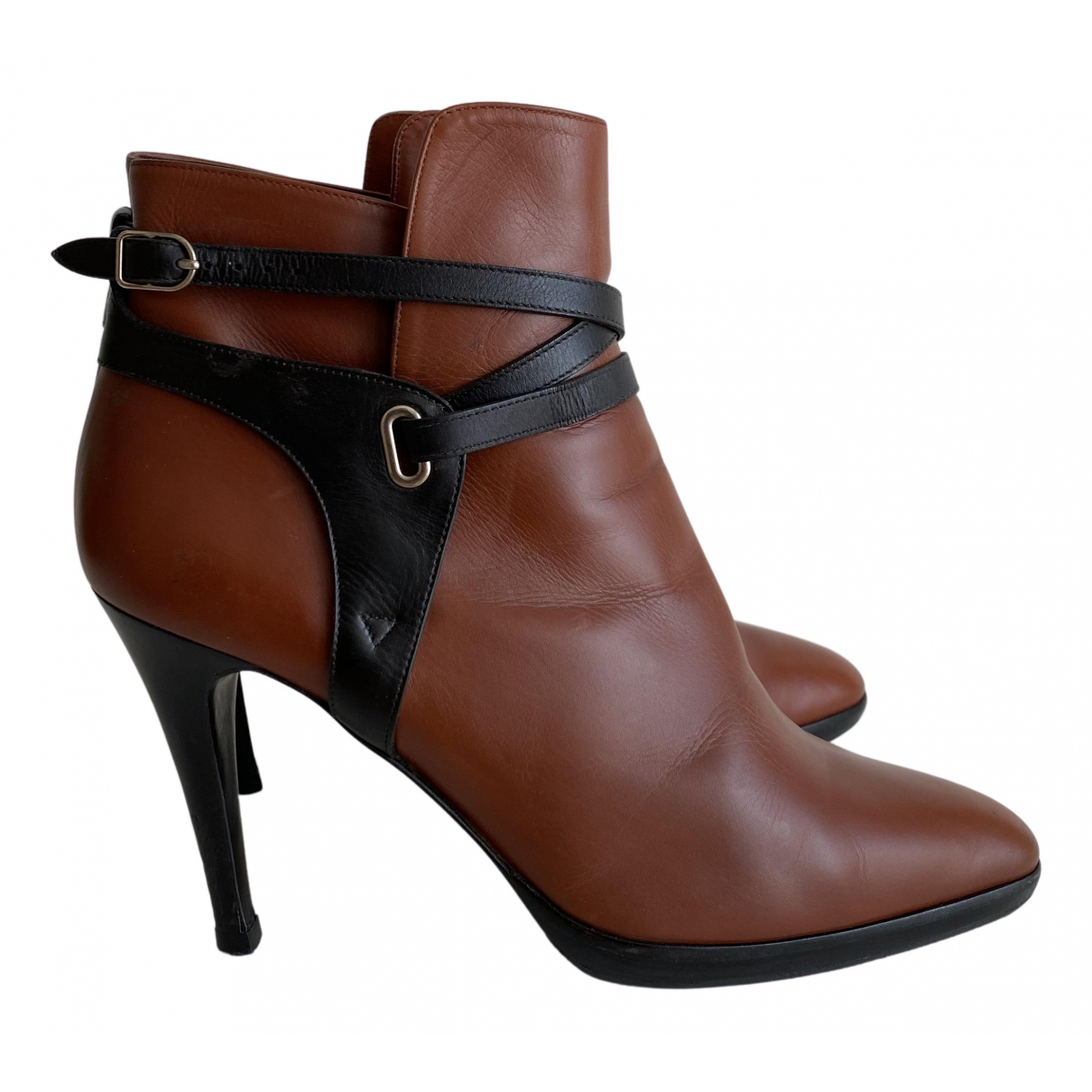 Hermès N Brown Leather Ankle boots for Women 39.5 EU