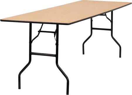 YT-WTFT30X96-TBL-GG 30 x 96 Rectangular Wood Folding Banquet Table with Clear Coated Finished