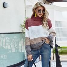 Colorblock Mock Neck Oversized Sweater