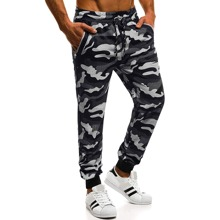 Men Camo Print Drawstring Waist Sweatpants